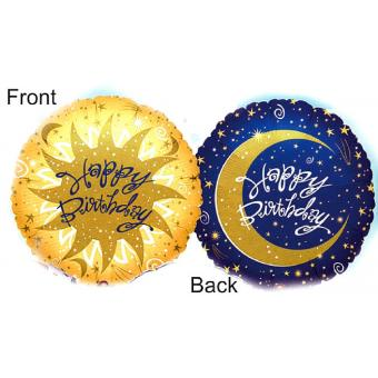Ballon Folie Jumbo Birthday blau-gold  ca. 80 cm